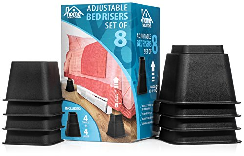 Black Bed Risers - Home Solutions Premium Adjustable Bed Risers or Furniture Risers 3, 5 or 8-Inch Bed Riser, Table Risers, Chair Risers or Sofa Risers