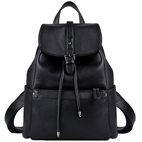 Trendy Black Leather - Leather Backpack, COOFIT Black Backpack Black Leather Backpack Purse Bookbag for Women