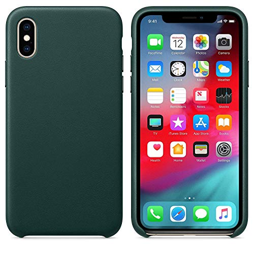 - Starred Original Design Leather Case for Apple iPhone Xs Slim Protective Cover [Ultra Thin & Lightweight] (Forest Green)