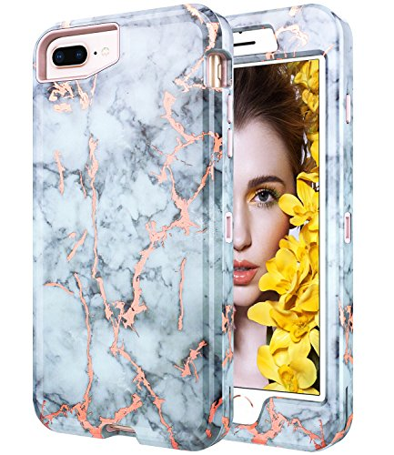 iPhone 7 Plus Case, iPhone 8 Plus Shiny Rose Gold White Gray Marble Case,BAISRKE Heavy Duty Hybrid 3-Layer Full-Body Protect Case Soft TPU & Hard Plastic Back Cover for Apple iPhone Plus 5.5