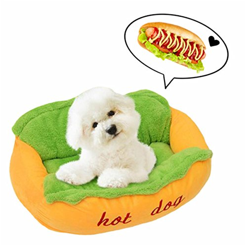 M&G House Hot Dog Design Pet Bed, Pet House Soft Warm Dog Sofa Bed with Removable Washable Pet Mat for Large Dog