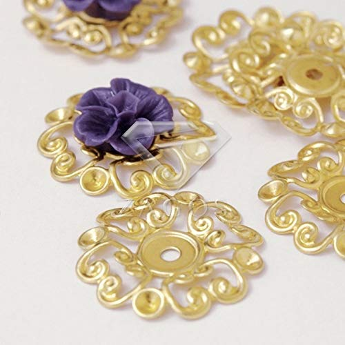 Laliva 20Pcs Raw Brass 23.5x23.5x2mm Cabochon Setting Flower Filigree Links Jewelry Making Finding Fit Necklace Wholesale ()