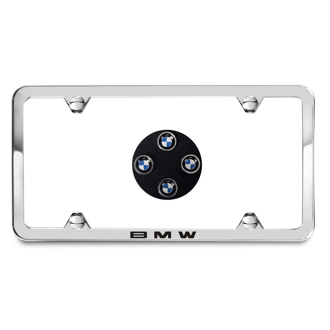 BMW Genuine Silver Slimline Plate Frame & Roundel Valve Stem Caps Silver by BMW