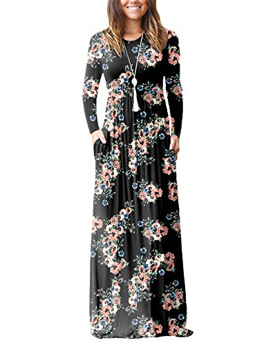 Vemper Floral Print Maxi Dress Short/Long Sleeve Pockets Long Casual Dress Floral Long Shorts
