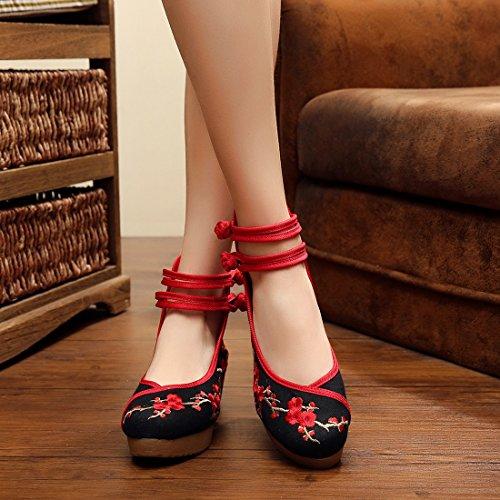 Jtengyao Chinois Cheville Sangle Brodé Chaussures Casual Marche Chaussures De Sport Noir