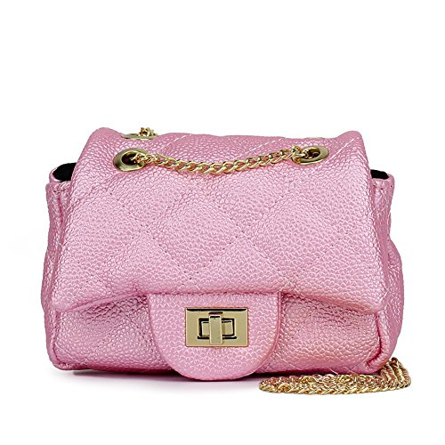 CMK Trendy Kids Quilted Pearl Embossed PU Leather Kids Purse for Little Girls with Metal Chain (15cm(L) x 7.5cm(W) x 9cm(H), (80001_Pearl Pink)