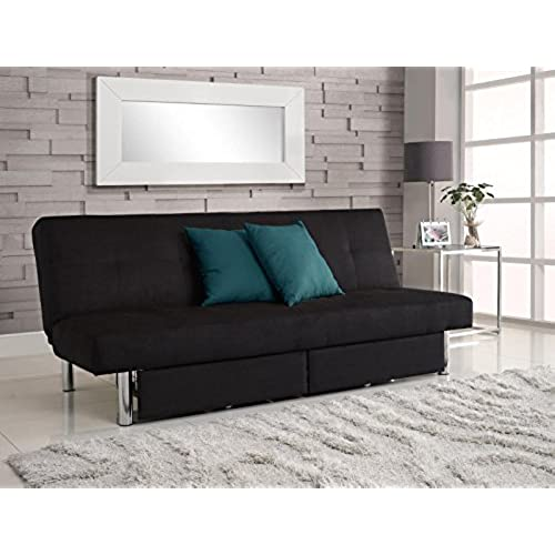 Marvelous DHP Sola Convertible Sofa Futon With Space Saving Storage Compartments,  Chrome Legs And Upholstered In Rich Black Microfiber