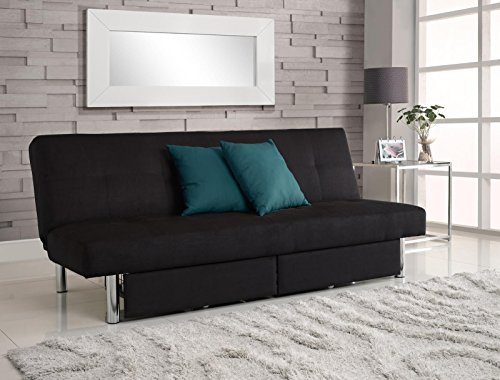 (DHP Sola Convertible Sofa Futon with Space Saving Storage Compartments, Chrome Legs and Upholstered in Rich Black Microfiber)