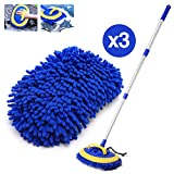 HOUSE DAY 2-in-1 Car Wash Mop Mitt Long Handle Chenille Microfiber Car Wash Dust Brush Extension Pole Flexible Rotation Scratch Free Cleaning Tool Dust Collector Supplies,3 Pcs Mop Heads (Blue) (Color: Blue)