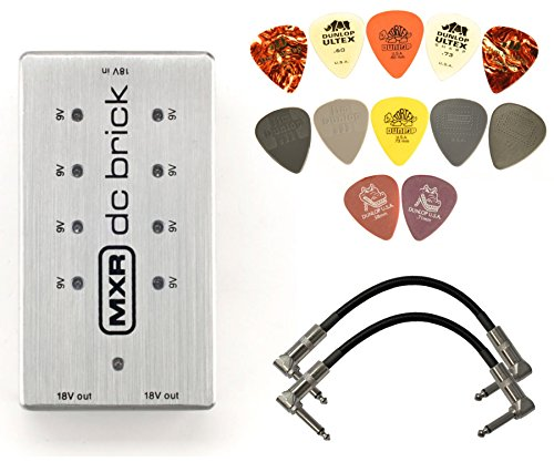 MXR M237 DC Brick Power Supply Bundle with 2 Patch Cables and Dunlop PVP101 Pick Pack (Dc Power Brick)