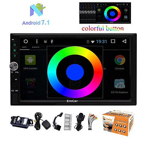 "Android Car Stereo 7.1 Quad Core 7"" In Dash 2 Din GPS navigation Player Receiver Touch Screen Car Radio Head Unit MP5 Player Support Mirror Link Bluetooth SWC 1080P Video + Free Rear Camera"