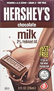 Hershey's chocolate flavored milk , 21- 8 Ounce Aseptic Boxes