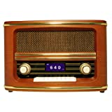 Wolverine Data RSR100 Retro Table Top Bluetooth Speaker and AM/FM Radio