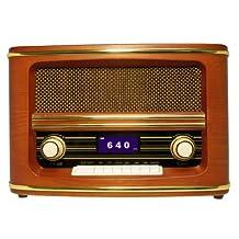Wolverine Data RSR100 Retro Table Top Bluetooth Speaker and AM/FM Radio