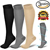 KOOCHY Compression Socks for Men & Women(3Pairs)- Athletic Stockings Perfect for Medical, Edema, Running, Athletic, Diabetic, Varicose Veins, Travel,Shin Splints[2018Upgraded]
