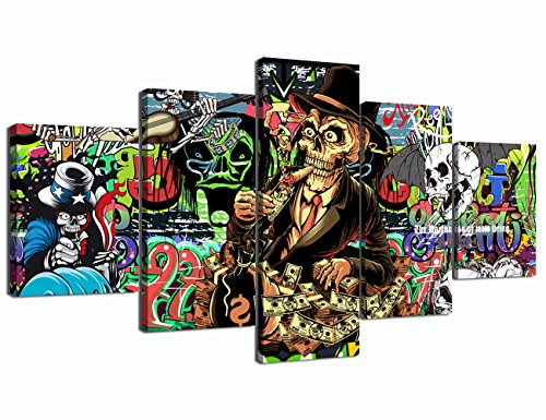 Canvas Print Skull Skeleton Party Pictures Modern Contemporary Paintings on Canvas Posters and Prints Wall Art for Living Room Home Decor Gallery-wrapped Canvas Art 5 Piece Set Framed, 60''W x 32''H