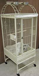New Parrot Bird Wrought Iron Cage 18x18x53 Play-Top *Egg Shell White*