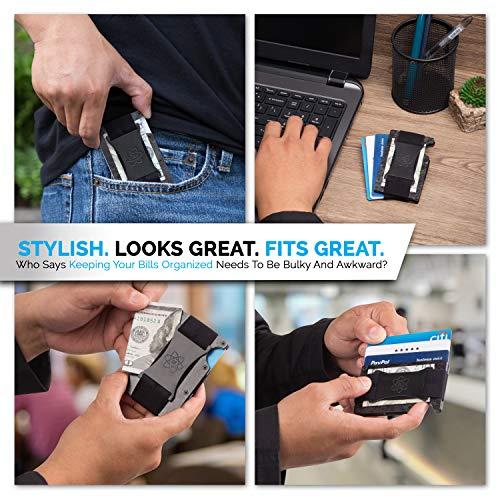 Carbon Fiber Minimalist Wallet for Men - RFID Wallets for Men Credit Card Holder Metal Cash Strap - Slim Rigid Mens Wallets
