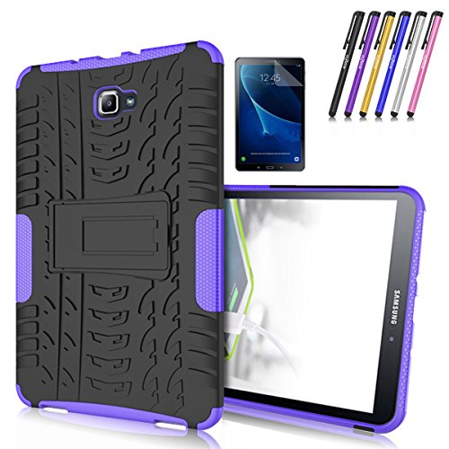 Galaxy Tab A 10.1 Case, Windrew Heavy Duty Hybrid Protective Case with Kickstand Impact Resistant For Samsung Galaxy Tab A 10.1 Inch SM-T580 SM-T585 + Screen Protector Film and Stylus Pen (Purple)