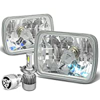 "7X6"" Diamond Cut Chrome Housing Clear Glass Lens Headlight Lamps Set of 2 + H4 LED Conversion Kit W/ Fan"
