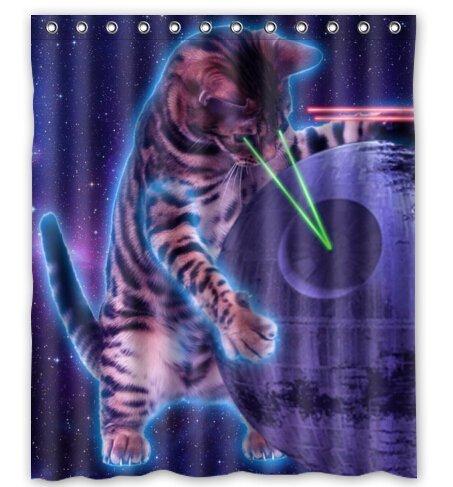 Creative Bath Space Cat Shower Curtain 60quot
