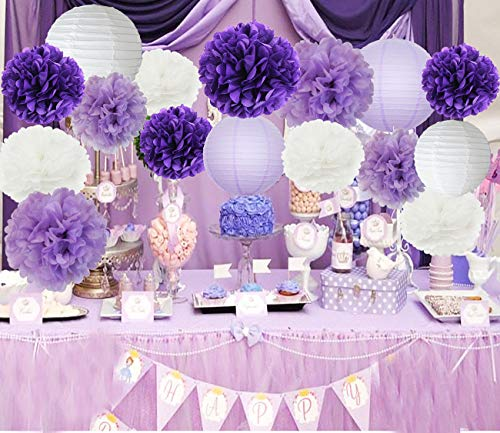 Furuix Bridal Shower Decorations Purple Wedding Shower Decorations 16pcs White Lavender Purple 10inch 8inch Tissue Paper Pom Pom Paper Lanterns for Birthday/ Baby Shower Decorations -