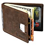 GANSAL Mens Bifold Leather Slim Wallet - RFID Blocking Money Clip - Credit Card Holder, Dark Brown, Minimalist