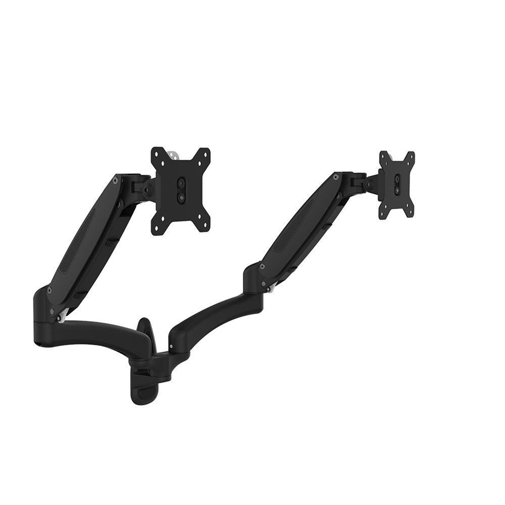 OLLO: Twin Wall Mounted Gas Spring Monitor Mount with iPad Holder, Snap-on Head, +90º/-85º Tilt, 180º Rotation, 0-18 Lbs. Each Arm, Black, Fits Most 15-27'' (WA-2X)