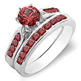 1.00 Carat (ctw) 14K Gold Round Ruby Ladies Bridal Engagement Ring Set With Band 1 CT