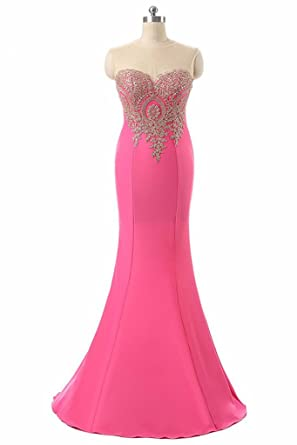 Wowbridal Womens Lace Applique Long Formal Mermaid Evening Prom Dresses Pink UK16