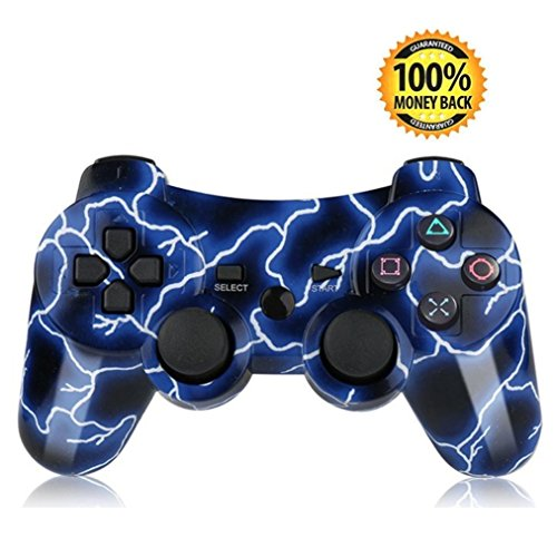 PS3 Controller, SKILEEN Wireless Bluetooth Game Remote Double Vibration Control Joystick Multi-Media Game Joypad for PS3 with Charger Cable (Lightning Blue) by SKILEEN