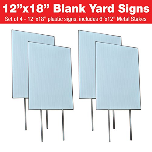 Visibility Signage Experts Blank Yard Signs 12x18 with 6x12