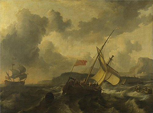Oil Painting 'Ludolf Bakhuizen An English Vessel And A Man Of War In A Rough Sea ' Printing On Polyster Canvas , 8 X 11 Inch / 20 X 27 Cm ,the Best Bedroom Decor And Home Gallery Art And Gifts Is This High Definition Art Decorative Canvas Prints