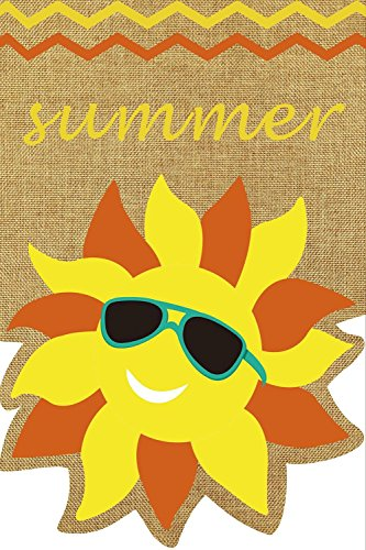 "Summer Sunface Burlap Garden Flag Seasonal Sunshine 12.5"" x"