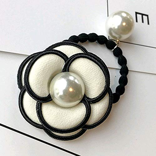 Women Camellia Flower Pearl Ponytail Holder Hair Band Tie Elastic Rope Ring Hair (ColorID - - Frog Bejeweled