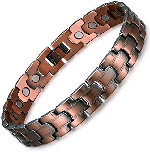 Rainso Womens Pure Copper Magnetic Therapy Health Bracelet Pain Relief for Arthritis Carpal Tunnel