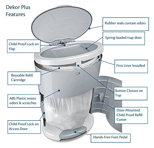 Dekor plus hands free diaper pail easiest to use just for Dekor classic diaper pail refills
