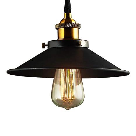Lámpara Vintage Colgante Luz Industrial Lámpara de Techo Retro Casquillo E27, Moderna Lámpara de Techo para Loft Restaurante Coffee Bar Color Negro ...