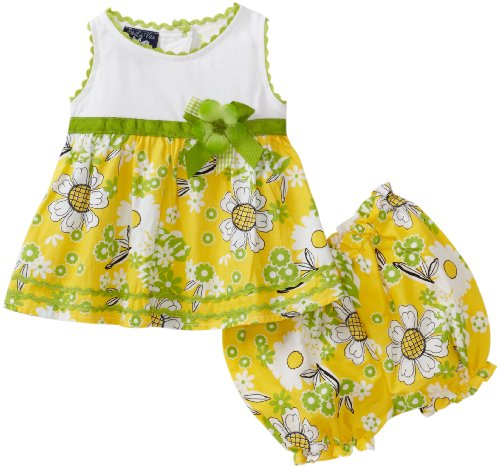 So La Vita Baby-girls Newborn Knit Yoke Flower Woven Skirt, Yellow, 3 Months