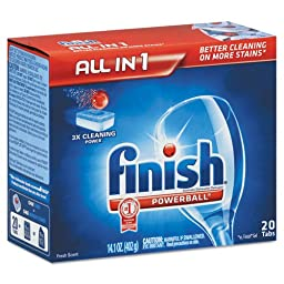 FINISH Powerball Dishwasher Tabs, Fresh Scent - eight packs of 20 dishwasher tabs; 160 tabs per case.