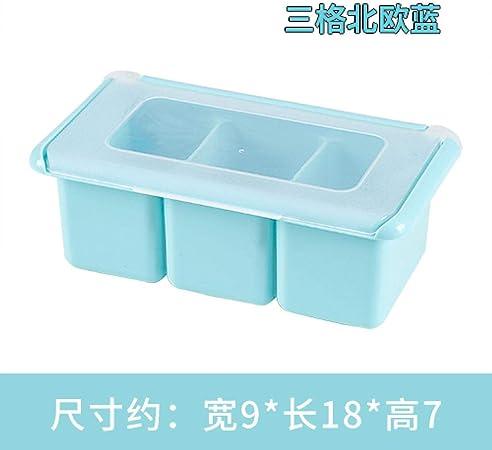 Nuobaby Caja De Especias Cocina Tarro Azucarero Salero Tanque Cinturón De Plástico Cuchara Multi-Grano Condimento Caja Tres Rejilla Azul: Amazon.es: Hogar
