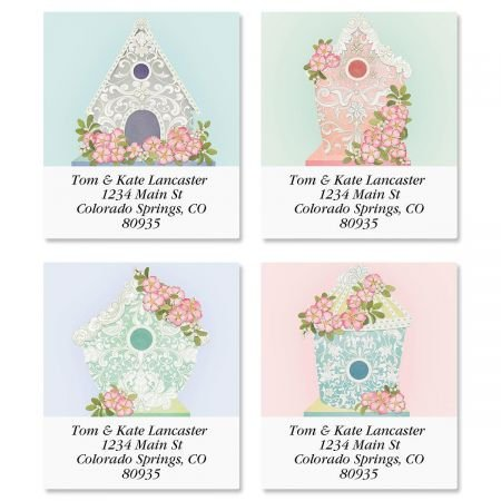 (Scroll Birdhouses Square Address Labels (4 Designs) - Set of 144 1-1/2 x 1-3/4 Self-Adhesive, Flat-Sheet labels)