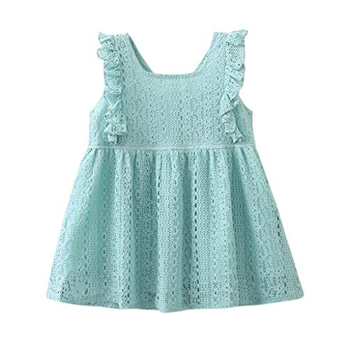 Jchen(TM) Baby Kids Little Girls Sleeveless Lace Ruffle Party Princess Dress Casual Beach Dress for 1-6 Y (Age:4-5 Years, Blue) -
