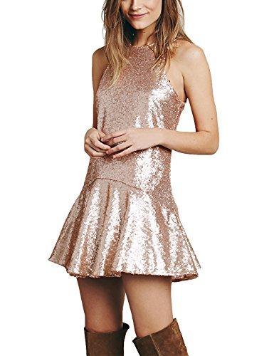 Gold Sequin Mini Dress - Avoir Aime Women's Sequin Halter Drop-Waist Mini Party Dress - Gold, XL