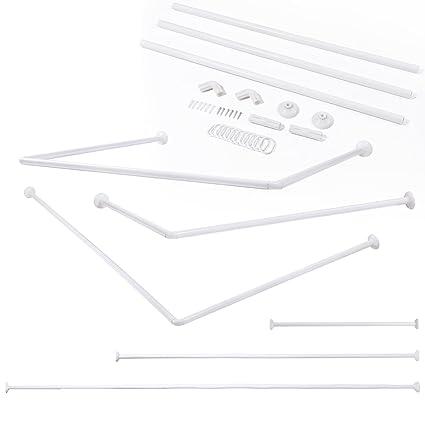 Stainless Steel Telescopic Adjustable U Shape Corner Shower Curtain Rod Bathtub Aluminum