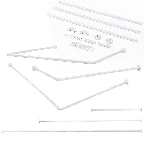 stainless steel telescopic adjustable u shape corner shower curtain rod bathtub aluminum u shape