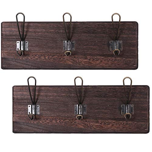 (Rustic Wall Mounted Coat Rack with 3 Sturdy Hooks - Set of 2 - Vintage Entryway Wooden Coat Racks - Rustic Rack for Coats, Bags, Towels and More - 35