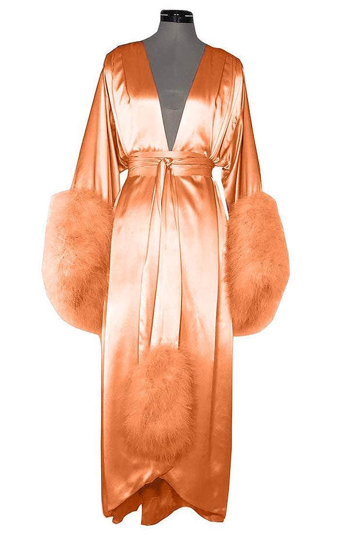 orange Michealboy Womens VNeck Satin Extra Long Silky Bathrobe Fur Cuffs Nightgown