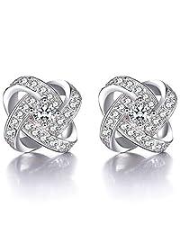 Colorstation Women 925 Silver Plated Stud Earrings Cubic Zirconia Eternal Love Earrings