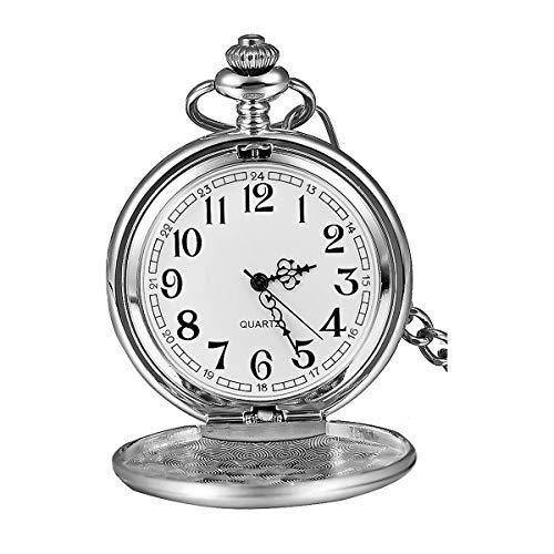 JewelryWe Men Women Pocket Watch Silver-Tone Polished Quartz Pocket Watch Chain Watch Locket Quartz Watch